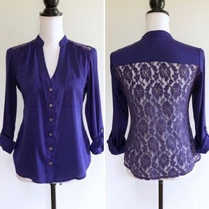 2b Bebe Button Up Blouse Lace Back Tab Sleeve S